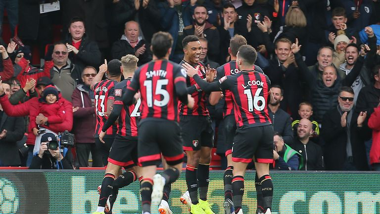 """Bournemouth's Callum Wilson celebrates scoring his side's first goal of the game during the Premier League match at The Vitality Stadium, Bournemouth. PRESS ASSOCIATION Photo. Picture date: Saturday November 3, 2018. See PA story SOCCER Bournemouth. Photo credit should read: Mark Kerton/PA Wire. RESTRICTIONS: EDITORIAL USE ONLY No use with unauthorised audio, video, data, fixture lists, club/league logos or """"live"""" services. Online in-match use limited to 120 images, no video emulation. No use in betting, games or single club/league/player publications."""
