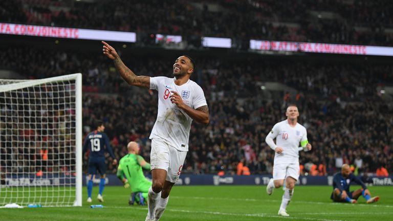 Callum Wilson celebrates after scoring England's third goal