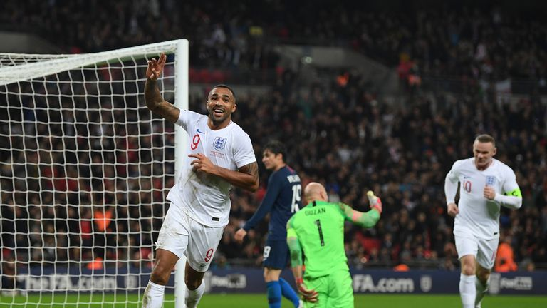 Callum Wilson celebrates after scoring his debut goal in a 3-0 win over USA