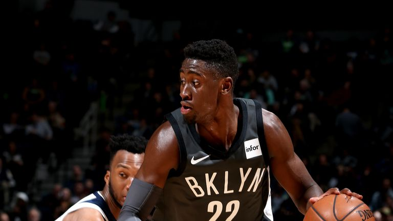 Caris LeVert #22 of the Brooklyn Nets handles the ball against the Minnesota Timberwolves on November 12, 2018 at Target Center in Minneapolis, Minnesota.