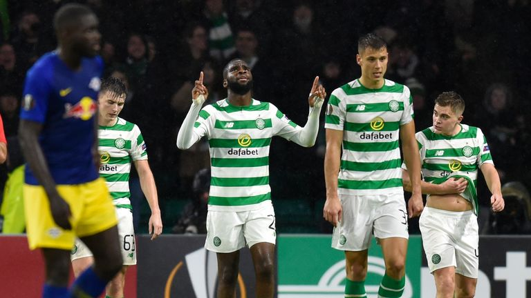 Celtic's Odsonne Edouard celebrates his late goal