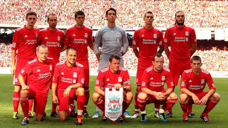LIVERPOOL IN KUALA LUMPUR, MALAYSIA - JULY 16 2011: (L-R back row) Jack Robinson, Raul Meireles, Conor Coady, Brad Jones, Daniel Agger and Andy Carroll, (L-R front row) Jay Spearing, Joe Cole, Jamie Carragher, Charlie Adam and John Flanagan of Liverpool line up for a team photograph before the pre-season friendly match between Malaysia and Liverpool at the Bukit Jalil National Stadium on July 16, 2011 in Kuala Lumpur, Malaysia. (Photo by Stanley Chou/Getty Images)
