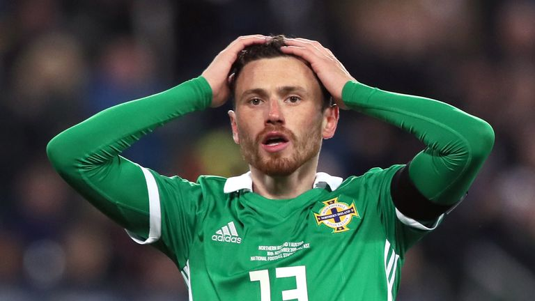 Northern Ireland's Corry Evans reacts to Austria's late winner