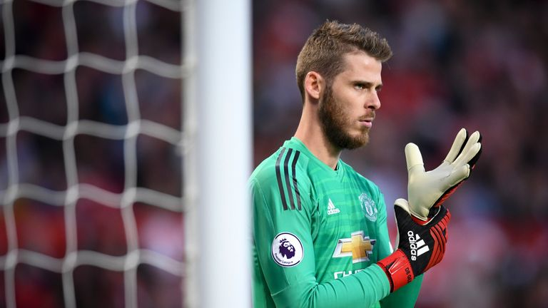 David de Gea during the Premier League match against Leicester City at Old Trafford in August