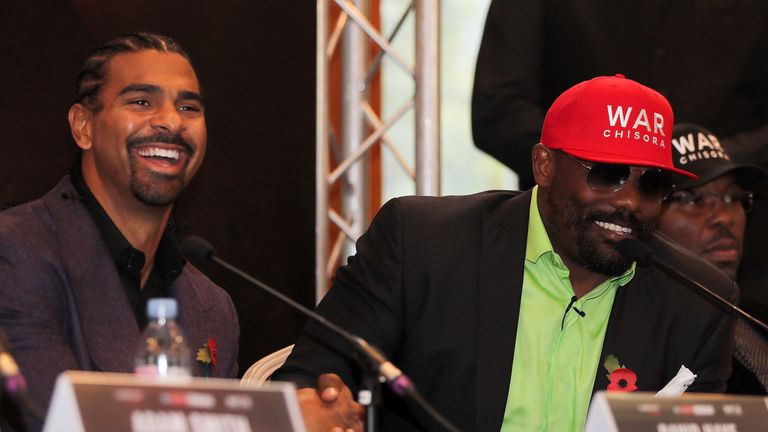 David Haye and Dereck Chisora shake hands during a press conference at the Canary Riverside Plaza Hotel on November 01, 2018