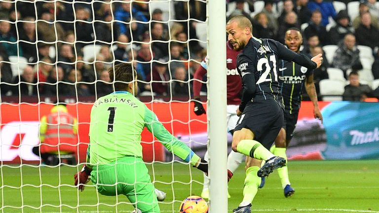 David Silva puts Manchester City ahead at West Ham