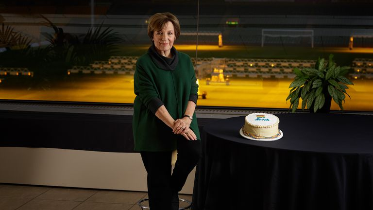 NORWICH - NOVEMBER 21, 2018: Iconic TV cook and Norwich City FC joint-majority shareholder Delia Smith has teamed up with the Club...s Community Partner Aviva to bake a limited-edition ...Rainbow Laces Cake..., released in support of LGBT+ inclusivity within football. (Photo by Chris Ridley/Aviva)