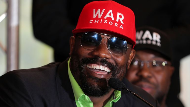 Dereck Chisora speaks to the media during a press conference at the Canary Riverside Plaza Hotel on November 01, 2018