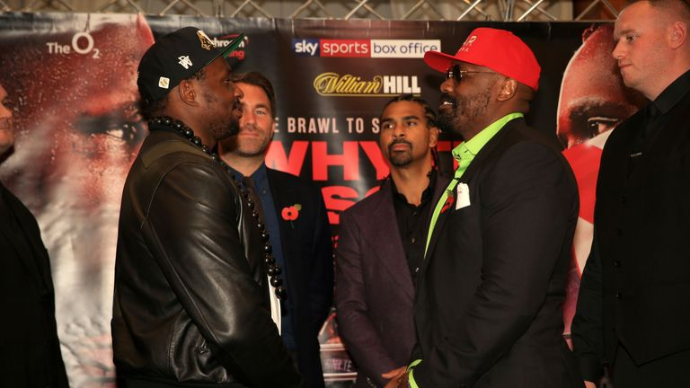 Dillian Whyte and Dereck Chisora face off during a press conference on November 01, 2018