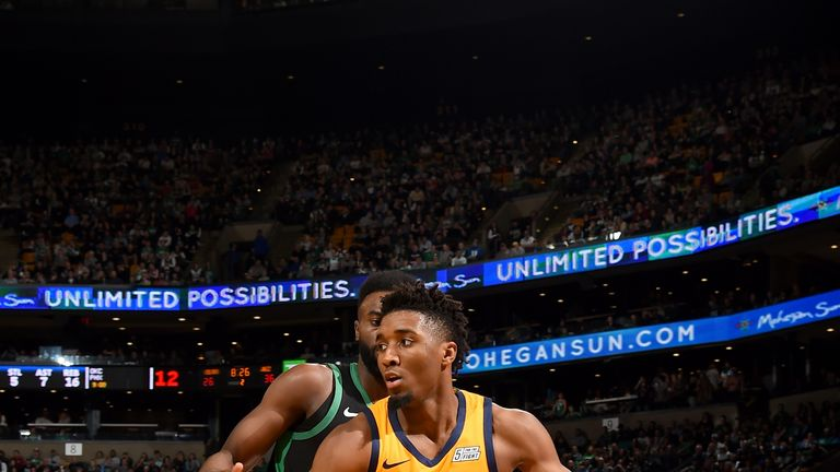 BOSTON, MA - NOVEMBER 17: Donovan Mitchell #45 of the Utah Jazz handles the ball against the Boston Celtics on November 17, 2018 at the TD Garden in Boston, Massachusetts. NOTE TO USER: User expressly acknowledges and agrees that, by downloading and/or using this photograph, user is consenting to the terms and conditions of the Getty Images License Agreement. Mandatory Copyright Notice: Copyright 2018 NBAE (Photo by Steve Babineau/NBAE via Getty Images)