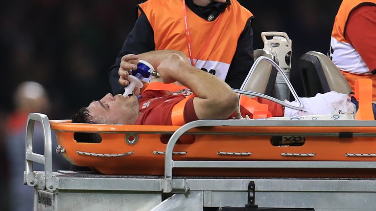 Jenkins was stretchered off