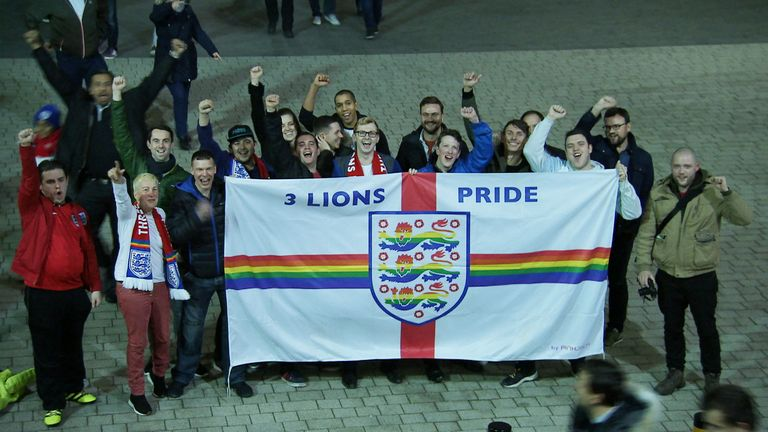 Three Lions Pride, England fans, England vs USA at Wembley