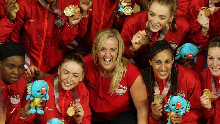 England celebrate gold at the Commonwealth Games