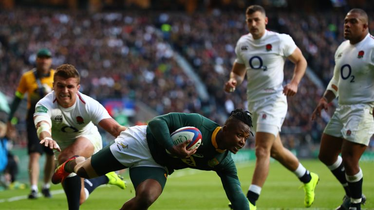 Sibusiso Nkosi scores the first try for South Africa