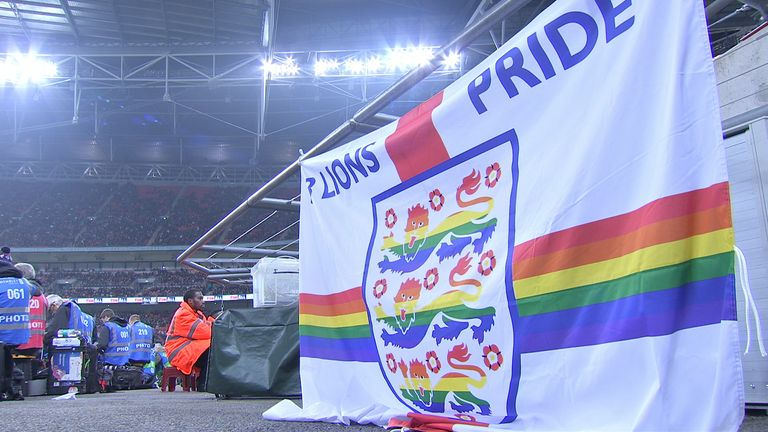 Three Lions Pride England flag, Rainbow Laces, England vs USA, LGBT supporters group