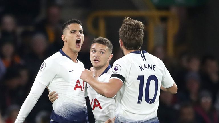 Erik Lamela celebrates with Kieran Trippier and Harry Kane following his goal against Wolves