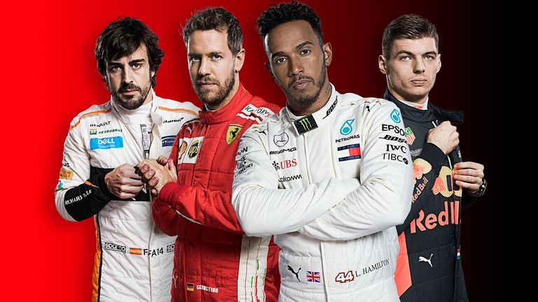 Hamilton, Vettel, Verstappen and Alonso
