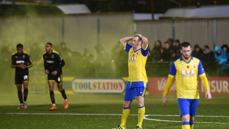 Mitchell Pinnock's 90th-minute strike ended Haringey Borough's FA Cup hopes