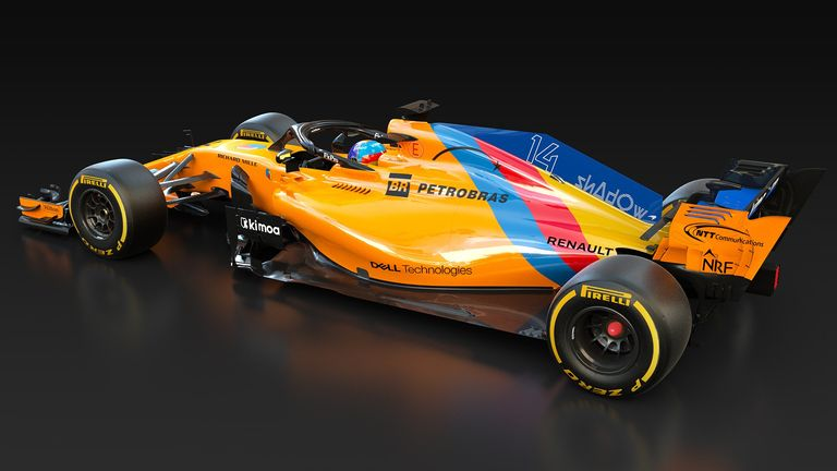 Alonso's McLaren is sporting a special colour scheme for his final F1 race. McLaren image