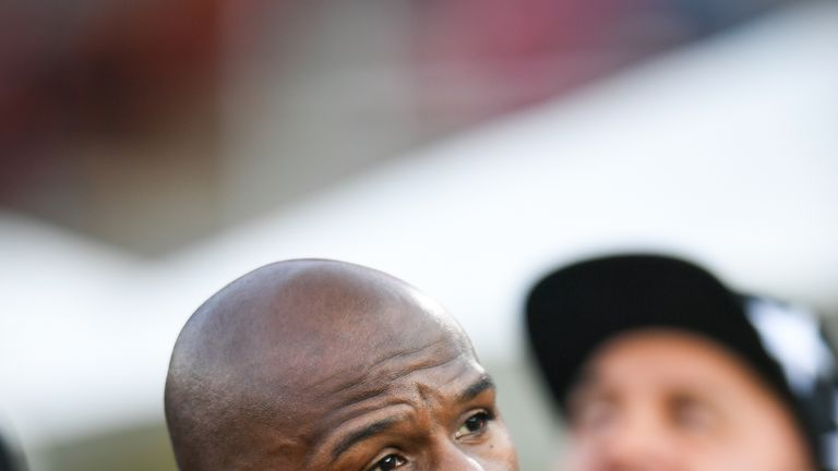 Floyd Mayweather was in attendance at the Los Angeles Rams game against the Seattle Seahawks