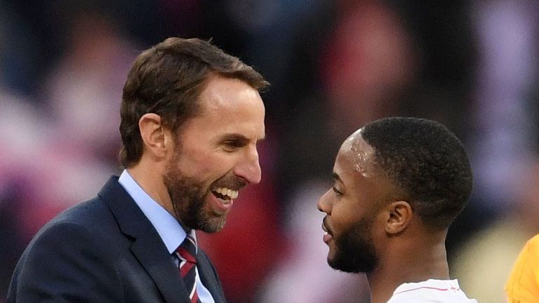 LONDON, ENGLAND - NOVEMBER 18:  Gareth Southgate, Manager of England and Raheem Sterling of England celebrate following their sides victory in the UEFA Nations League A group four match between England and Croatia at Wembley Stadium on November 18, 2018 in London, United Kingdom.  (Photo by Laurence Griffiths/Getty Images)