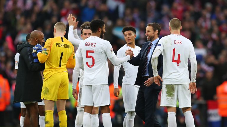England celebrate their victory over Croatia in the Nations League
