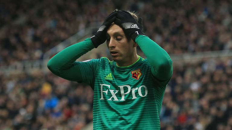 Gerard Deulofeu reacts after missing a chance against Newcastle