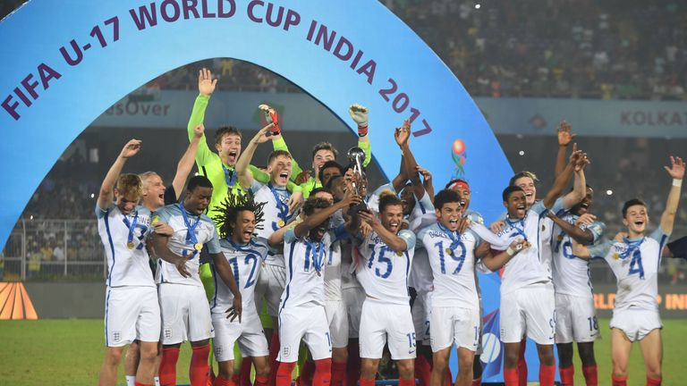 Morgan Gibbs-White (No 19) scored in England U17's 5-2 World Cup final win against Spain