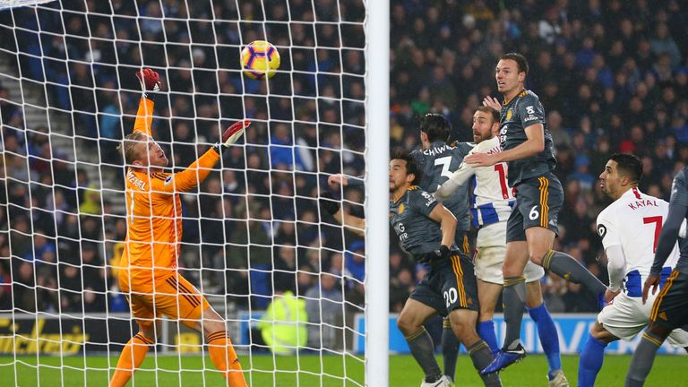 Glenn Murray gives Brighton the lead at the AMEX Stadium with a simple header