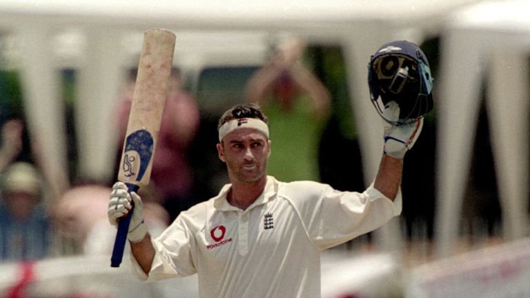 Thorpe celebrates his century in England's third Test win over Sri Lanka in 2001