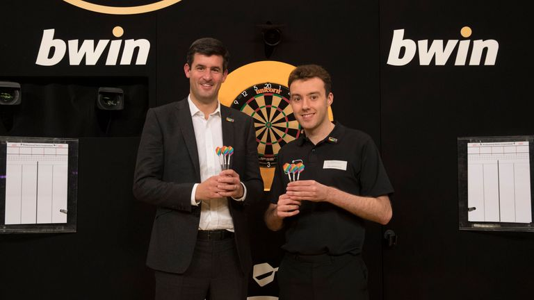PDC chief executive Matthew Porter and referee Huw Ware are helping to make darts everyone's game (pic: Lawrence Lustig)