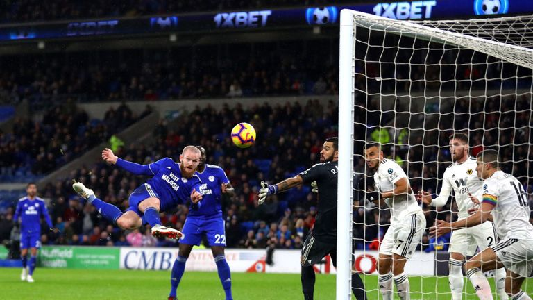 during the Premier League match between Cardiff City and Wolverhampton Wanderers at Cardiff City Stadium on November 30, 2018 in Cardiff, United Kingdom.