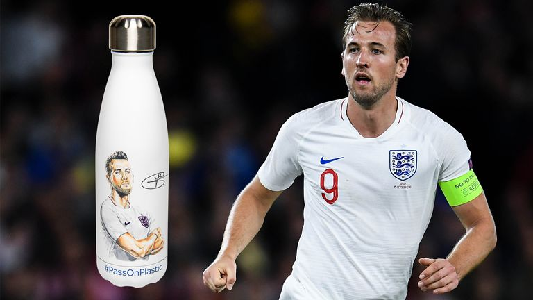 Harry Kane is amongst a host of celebrities to have joined forces with Sky Ocean Rescue in launching a reusable limited-edition water bottle