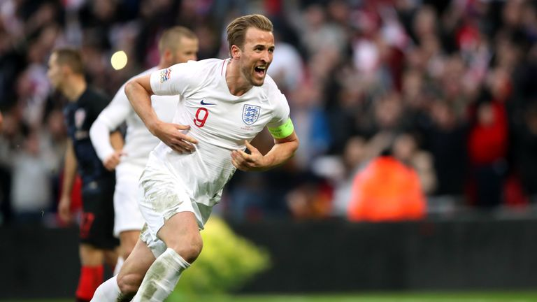 England's Harry Kane celebrates scoring his side's winning goal at Wembley