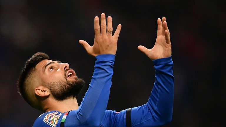 Italy's forward Lorenzo Insigne reacts during the UEFA Nations League