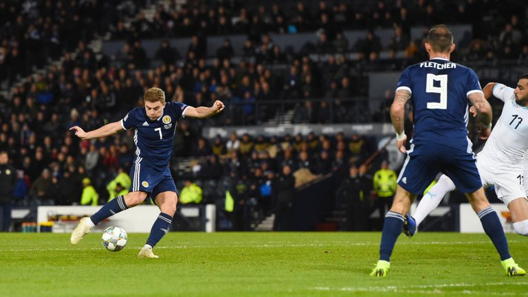 James Forrest equalises for Scotland against Israel