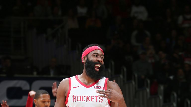 James Harden #13 of the Houston Rockets reacts against the Washington Wizards on November 26, 2018 at Capital One Arena in Washington, DC.
