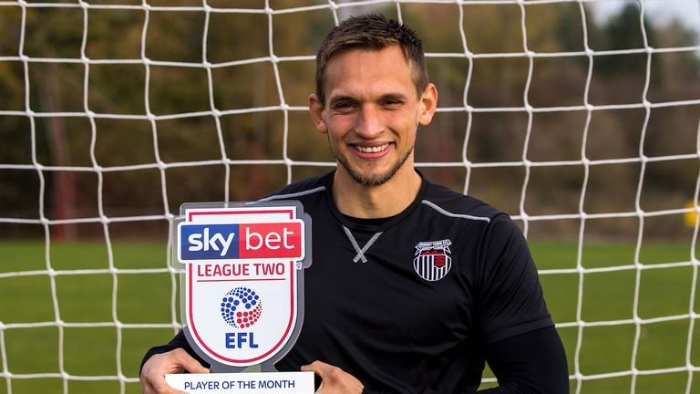 James McKeown of Grimsby Town wins the Sky Bet League Two Player of the Month award - Mandatory by-line: Robbie Stephenson/JMP - 05/11/2018 - FOOTBALL - Cheapside Training Ground - Grimsby, England - Sky Bet Player of the Month Award