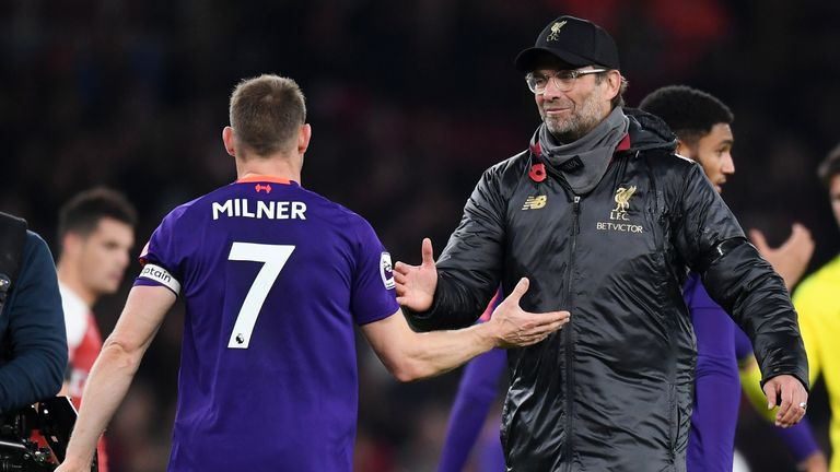 Jurgen Klopp says James Milner is a 'proper leader' for Liverpool