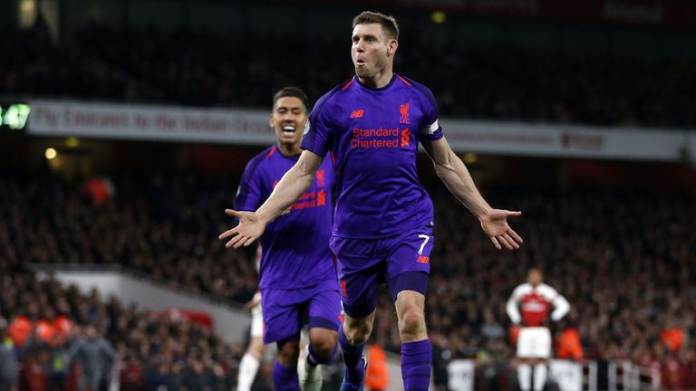James Milner celebrates putting Liverpool ahead