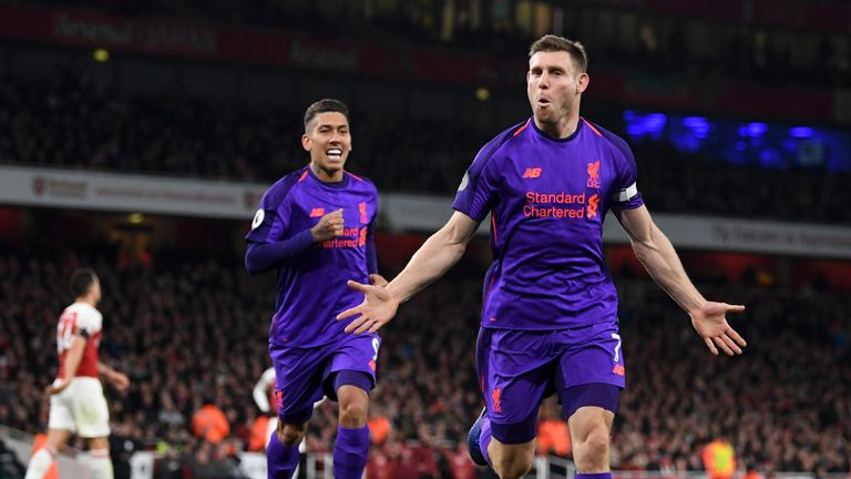 James Milner put Liverpool in front at the Emirates on Saturday - but they were pegged back and fell two points behind Man City