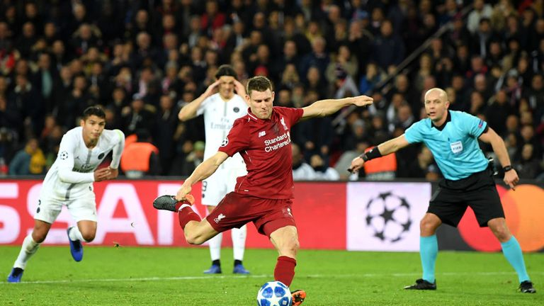James Milner scored a first-half injury-time penalty