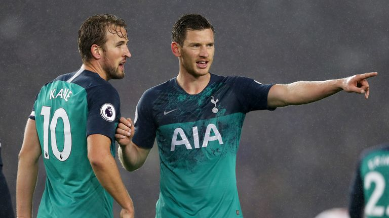 Jan Vertonghen during the Premier League match between Brighton & Hove Albion and Tottenham Hotspur at American Express Community Stadium on September 22, 2018 in Brighton, United Kingdom.
