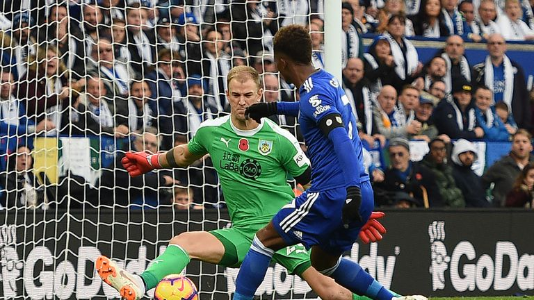Joe Hart saves from Demarai Gray in a goalless game at the King Power