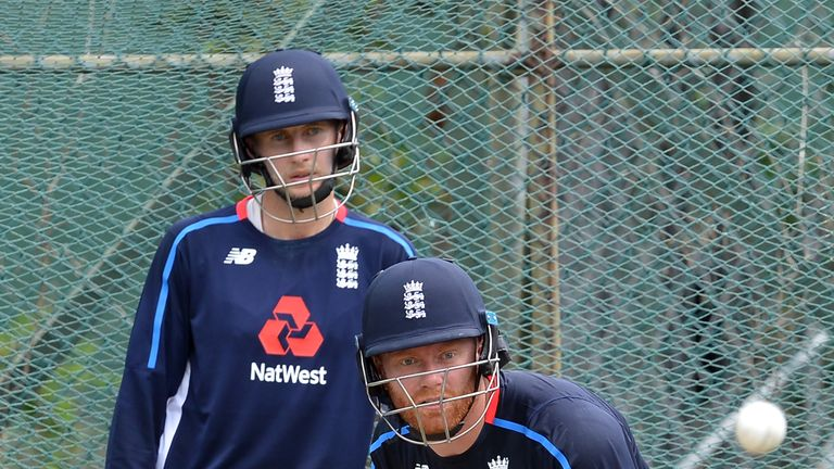 Jonny Bairstow bats in the nets watched by England captain Joe Root
