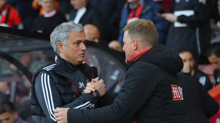 Jose Mourinho and Eddie Howe during the Premier League match between AFC Bournemouth and Manchester United at Vitality Stadium on April 18, 2018 in Bournemouth, England.