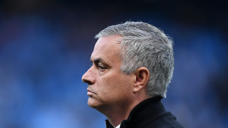 Jose Mourinho during the Premier League match between Manchester City and Manchester United at Etihad Stadium on November 11, 2018 in Manchester, United Kingdom.