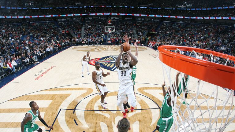 Julius Randle #30 of the New Orleans Pelicans shoots the ball against the Boston Celtics on November 26, 2018 at the Smoothie King Center in New Orleans, Louisiana.