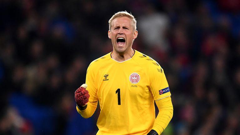 Kasper Schmeichel is absent for Denmark in goal through suspension