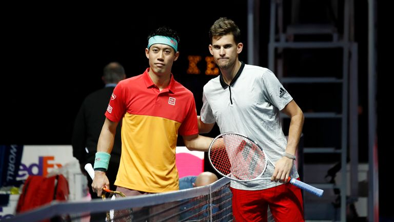 Kei Nishikori of Japan and Dominic Thiem of Austria pose for a photo ahead of their round robin match during Day Five of the Nitto ATP Finals at The O2 Arena on November 15, 2018 in London, England.